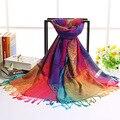 2017 Outono Inverno Mulheres Scarf Moda Rainbow Lenços Jacquard Estilo Étnico Floral Impressão Xailes Das Senhoras Longas Pashminas
