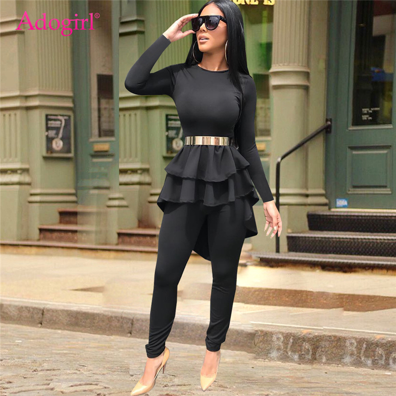 Adogirl Plain Black Women Two Piece Set Ruffle High Low Long Sleeve T-shirt Top + Skinny Pants Fashion Casual Outfits Costumes