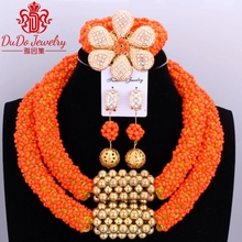 Delicado Naranja Beads Nigerianos Joyería Conjunto Collar de la Navidad Conjunto de Perlas Joyería Conjunto Africano de La Joyería de Cristal de Novia de La Boda