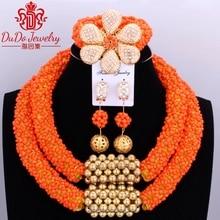 Delicate Orange Nigerian Bead Christmas Necklace