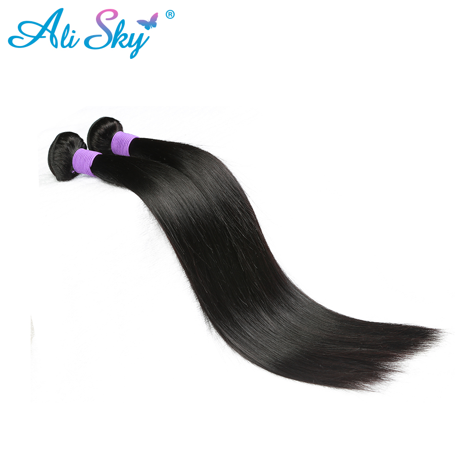 Peruvian Straight Remy Hair 1 piece Hair Weft Ali Sky peruka Natural Black can be dyed and curled shipping free