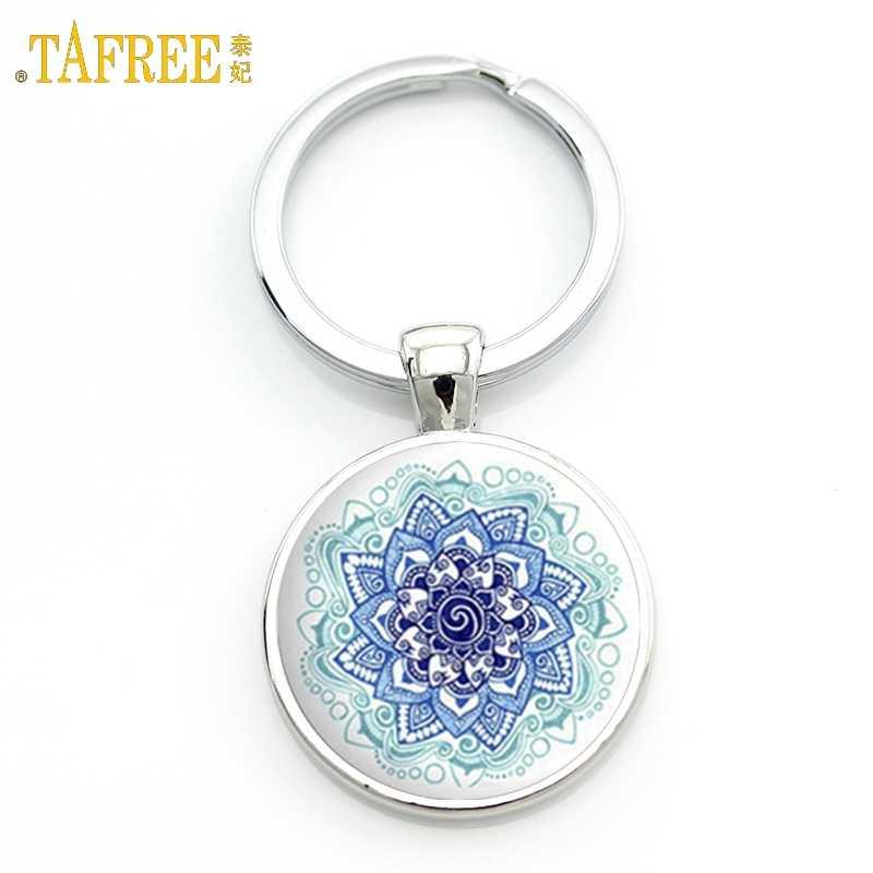 TAFREE Key CHAIN Mandala Art รูปภาพ Cabochon จี้ Keychains เรขาคณิตโยคะ OM แฟชั่นเครื่องประดับแหวน M01-17