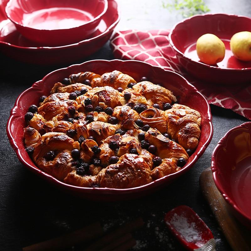Round Plate Red Tray Pizza Baking Bowl Big Capacity Food Container European Salad Serving Dish Christmas Baking Pan Kitchenware
