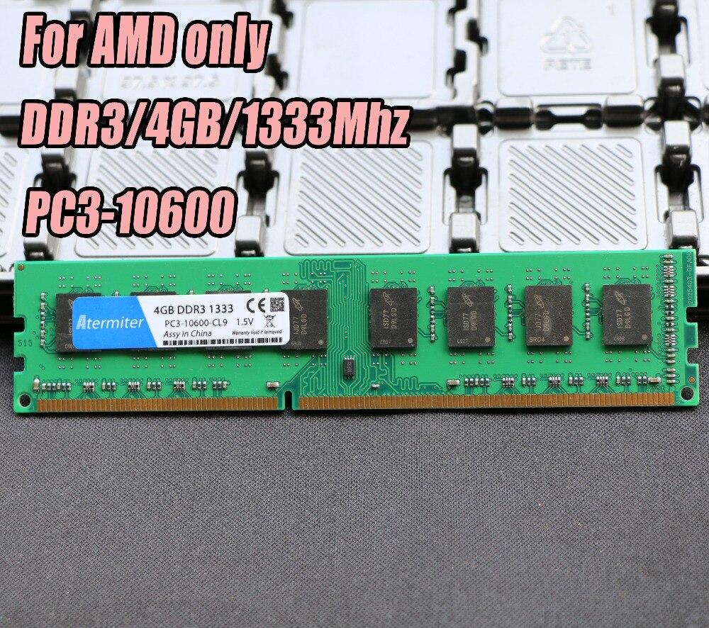 Nueva 4 GB DDR3 PC3-10600 1333 MHz para PC de escritorio DIMM memoria RAM 240 pines para AMD sistema Alto compatible 4G 1333 DDR2