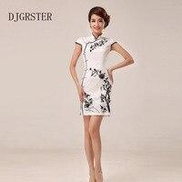 DJGRSTER Beyaz Cheongsam Nakış Çiçekler Çince Geleneksel Qipao Zarif Kadın Örgün Parti Oriental Elbiseler Tangsuit Plaka