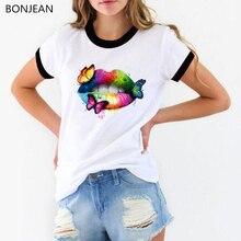Pride Lgbt t shirt women Gay Love Lesbian sexy Rainbow lip butterflies Print femme white tops tumblr clohtes female t-shir