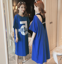 Summer new style Fake two-piece loose large size Korean t-shirt dress Open back print