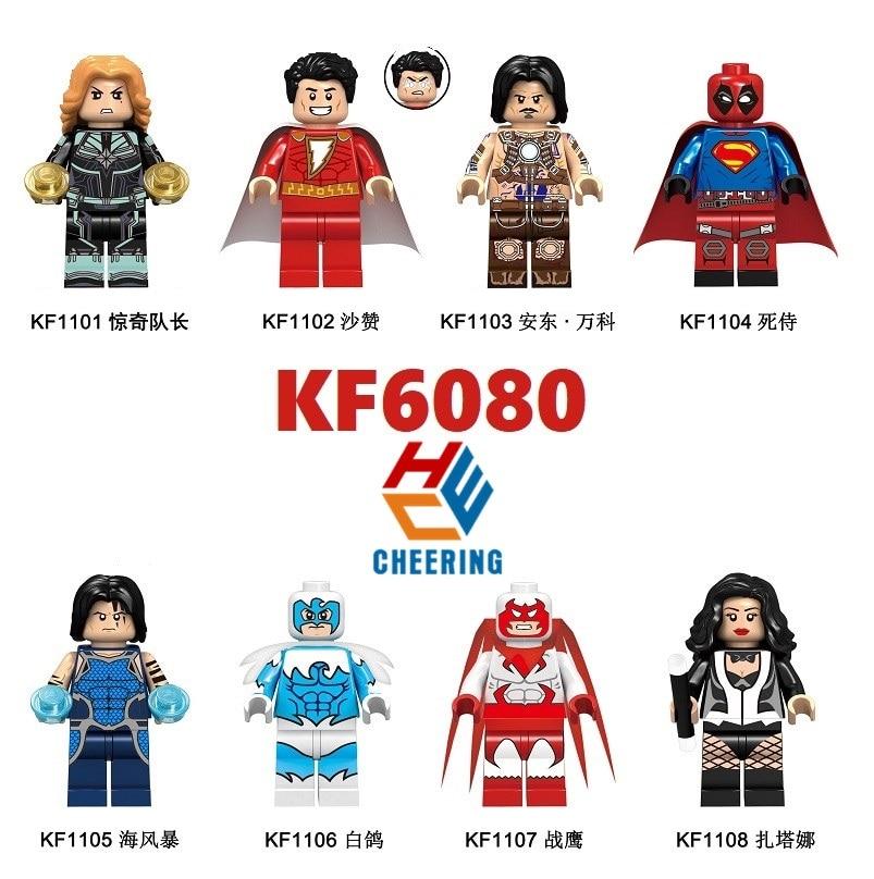 Building Blocks Shazam Anton Figures Super Heroes Single Sale  Deadpool Tempest Dove Hawk Bricks For Children Toys KF6080