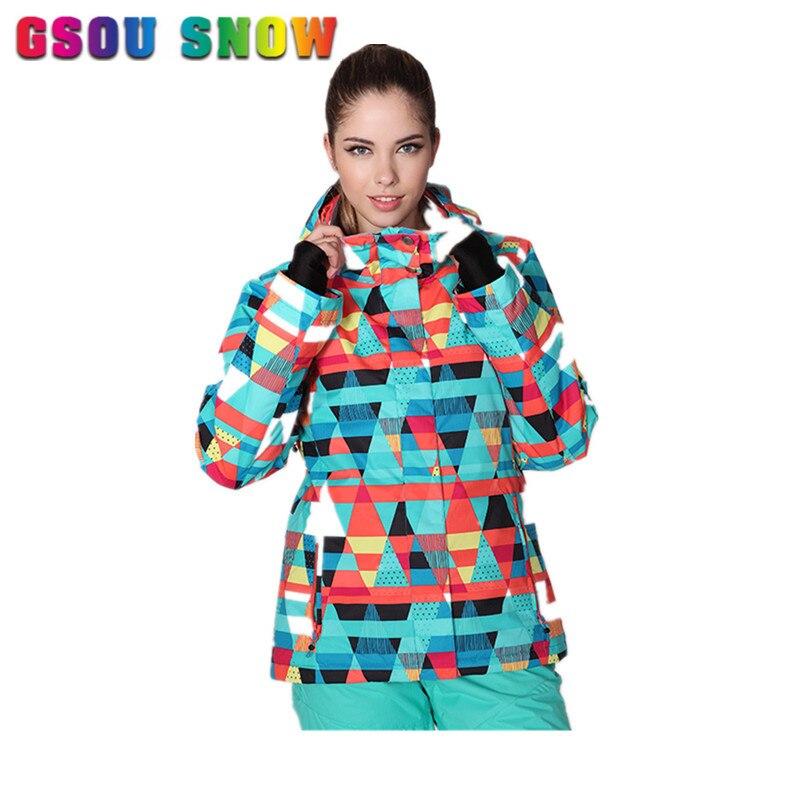 Prix pour Gsou Neige Nouveau Ski Veste Femmes Épaissir La Chaleur Respirant Snowboard À Capuche Imperméable Coupe-Vent Femelle Sports de Plein Air Ski Vêtements
