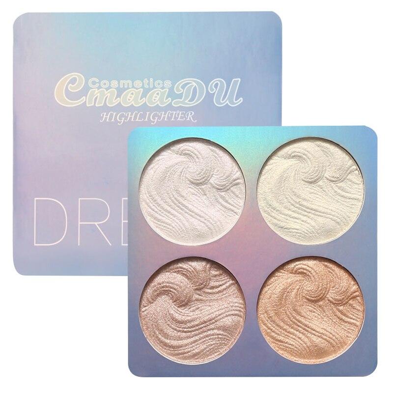 CmaaDu 4 Colors Brighten Highlighter Baking Eyeshadow Palette Repair Facial Makeup Powder Contour Blush Make Up Cosmetics TSLM2