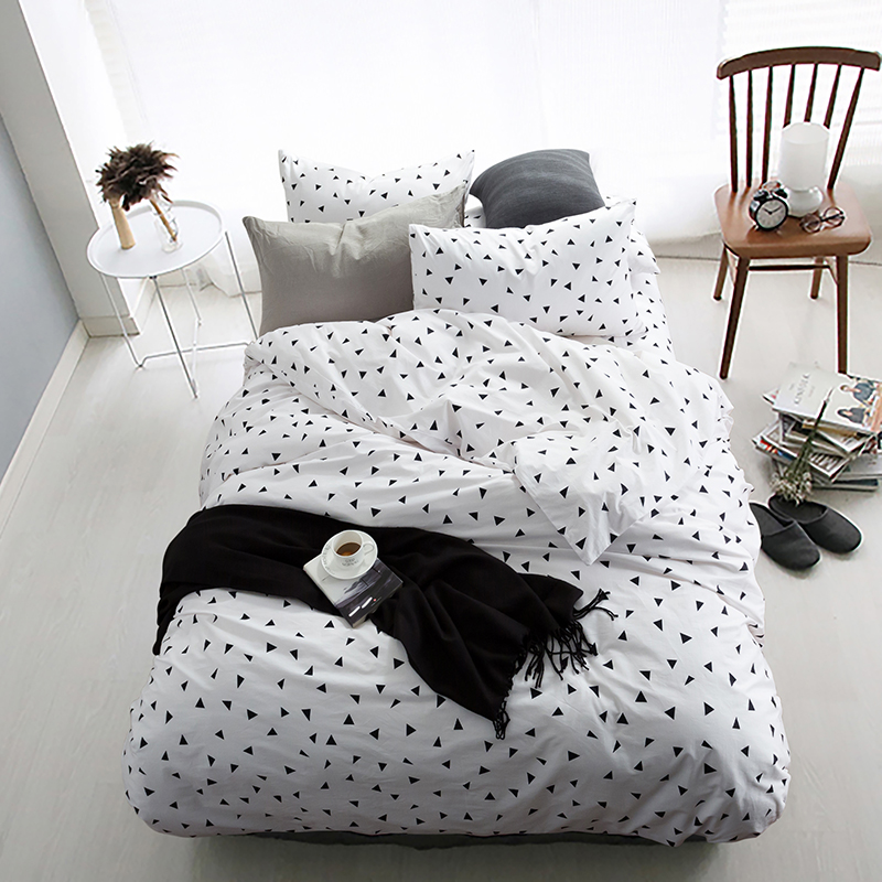 100 Cotton Black White Triangle Bedding Set 4pcs King - Tumblr Bettwäsche