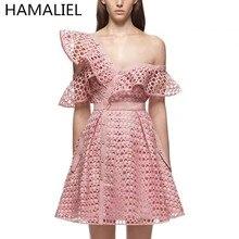 HAMALIEL 2017 Summer Self Portrait Runway Hollow Out Lace Flounces Pink Dress Women Sexy V-Neck Mini Dress