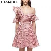 HAMALIEL 2018 Summer Self Portrait Runway Hollow Out Lace Flounces Pink Dress Women Sexy V Neck Mini Dress