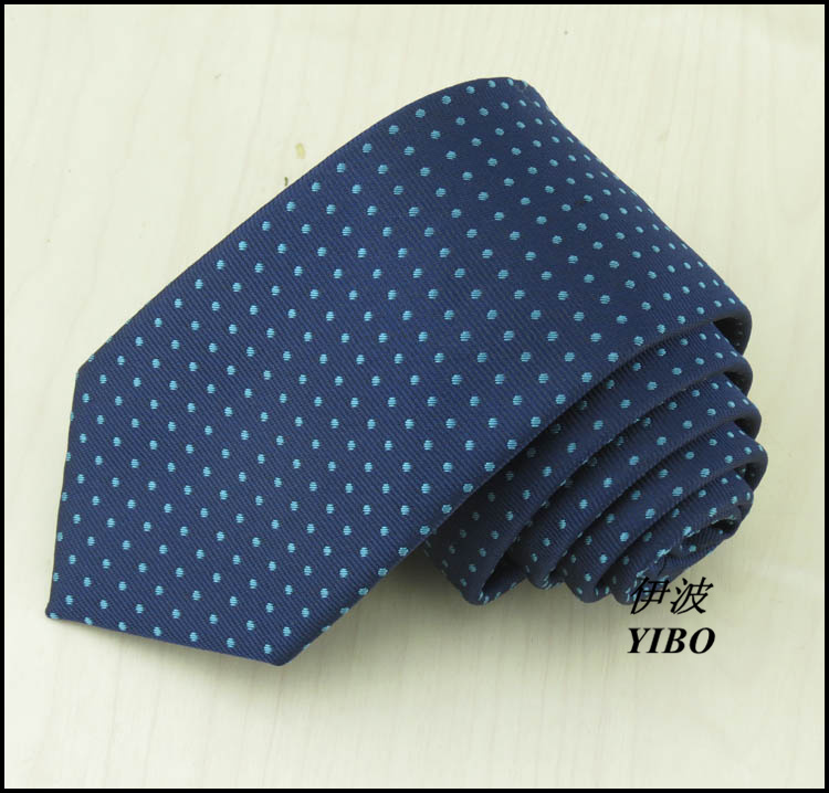 2017 new navy Narrow neck tie for men/polyester/blue embroidered dot design/high-quality boys gift ties cravata