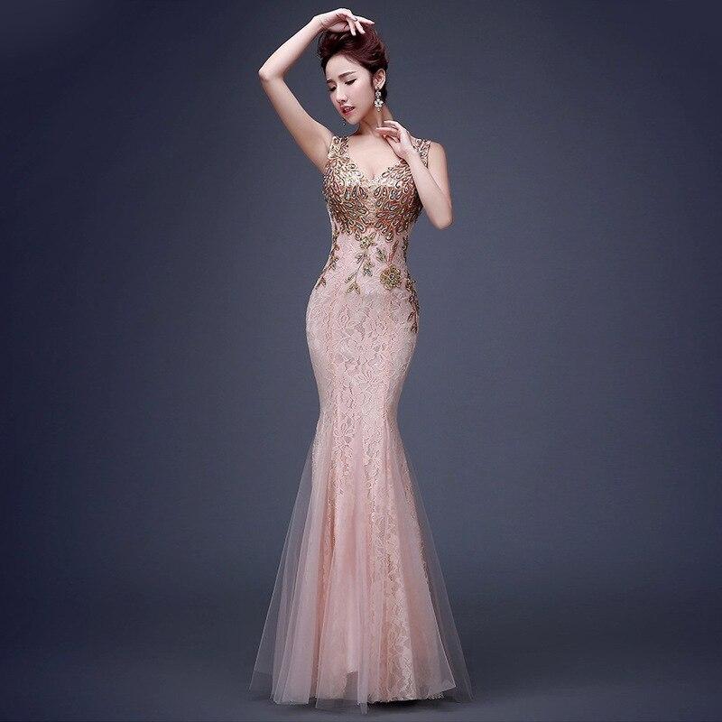 Fashion Wedding Party Cheongsam Mermaid Evening Dress Chinese Style Women Elegant Qipao Sexy Fishtail Dress Vestido S-3XL
