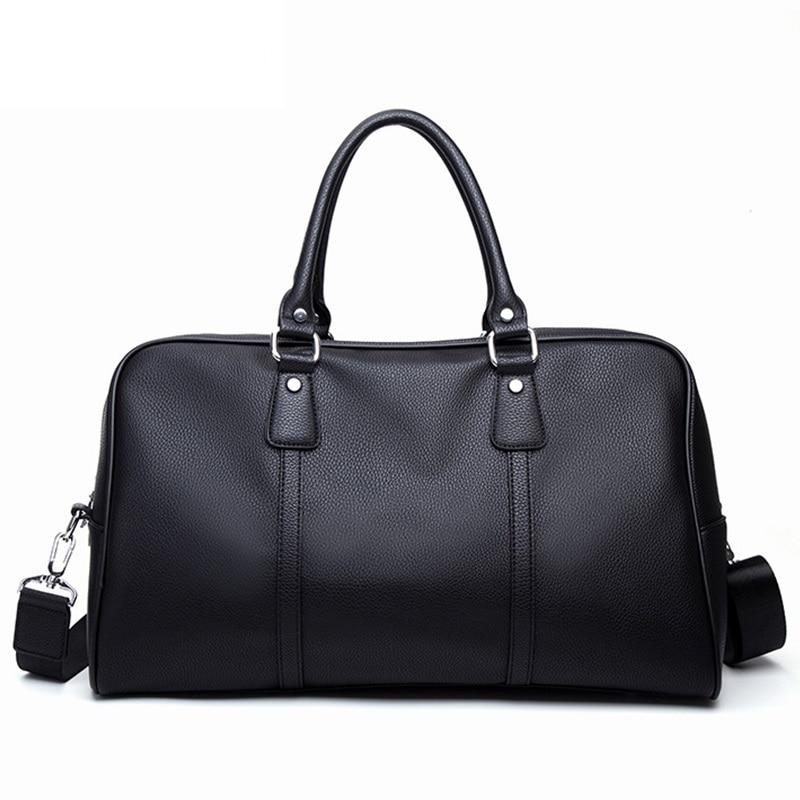 Luxury Brand Men Travel Bag Big Luggage Tote Business Male Leather Handbag Casual Shoulder Bags Black Large Capacity Duffle Bag
