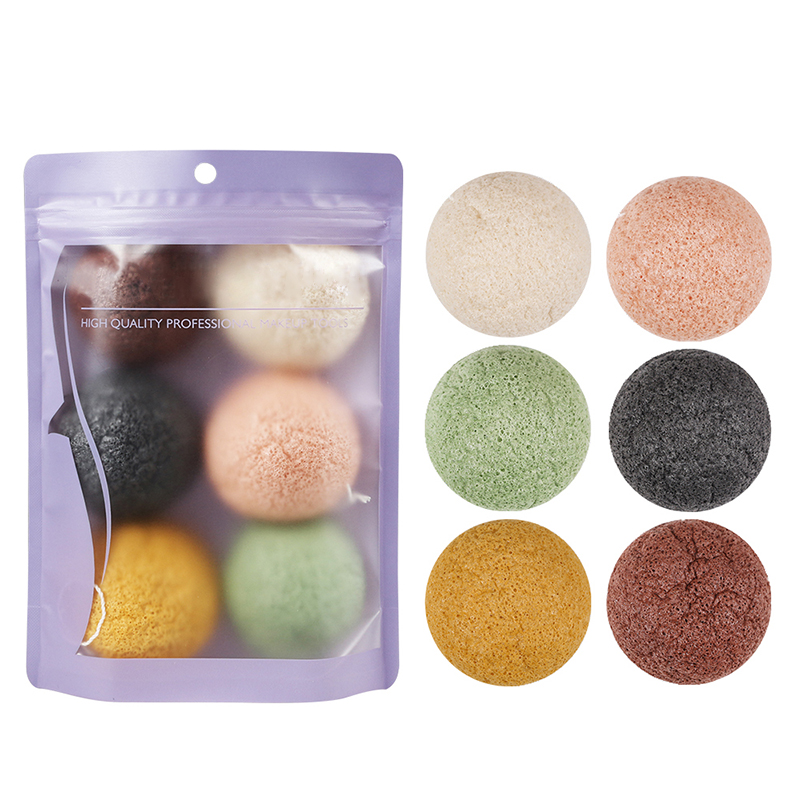 6 pçs/lote mistura de cor konjac esponja cosméticos puff rosto esfoliante lavagem limpeza esponja planta bambu puffs facial ferramenta de limpeza