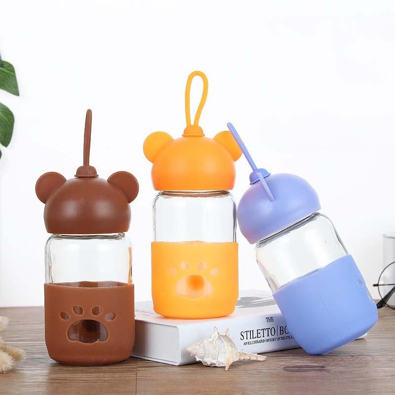 Flaschenzuführung 300 Ml Baby Silikon Milch Fütterung Flasche Mamadeira Vidro Bpa Frei Sicher Infant Saft Wasser Fütterung Flasche Tasse Glas Pflege Feeder üBerlegene Materialien