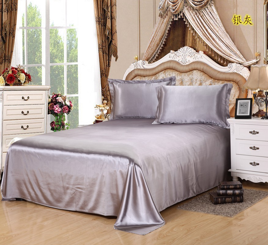 LYN GY New Luxury Satin Silk Bed Sheet King Queen Twin Size Solid black Flat bedsheet