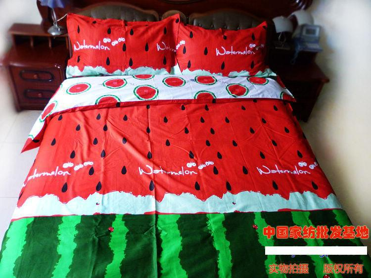 Red Green Watermelon Bedding Sets King Size Queen Quilt