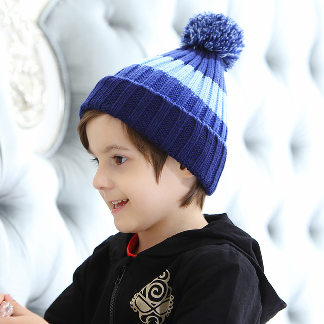 ce0d3cd1a92 HaisongcaiHedy Children Stripy Warm Knitted Hat with Fur ball Winter Spring  Cap Outdoor Boys Girls Skullies