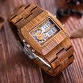 SKONE 100% Friendship Natural Sandalwood Wood Watches Men Analog-Digital Chronograph LED Dual Time Zone Clock relogio masculino