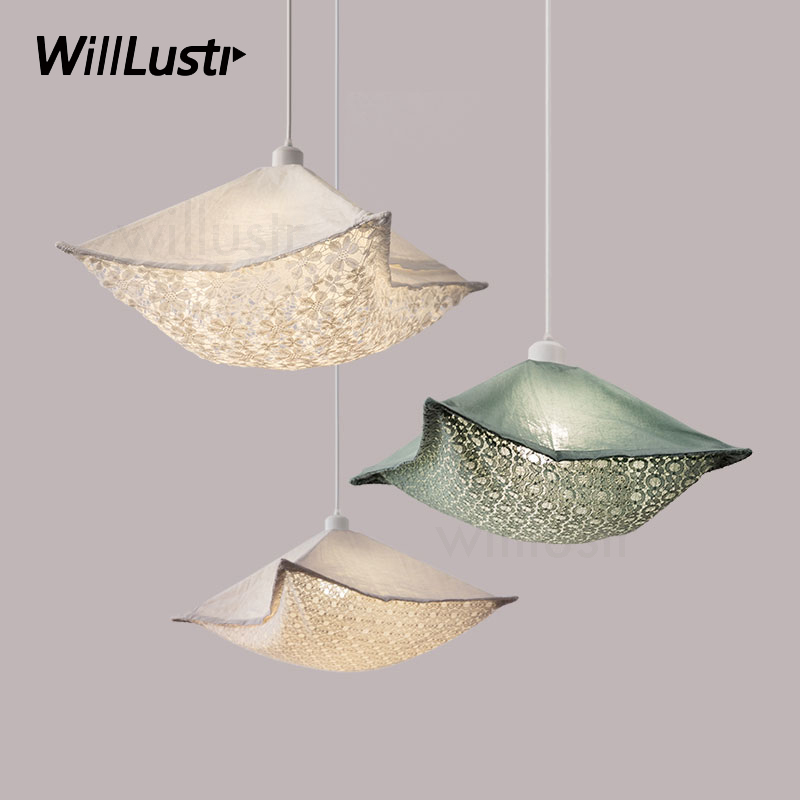 modern floral fabric pendant lamp nordic home bedroom hotel dinning room restaurant loft bar cafe Indie Pop cloth pendant light light the mediterranean restaurant in front of the hotel cafe bar small aisle entrance hall creative pendant light df57