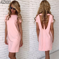 AIZHIXI 2017 Sexy Backless Summer Dress Women Solid O-Neck Short Sleeve Casual Straight Dress Mini Party Dresses Vestidos