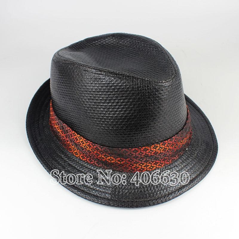 Летняя Черная Мужская рафия соломенная шляпа Федора Панама модная мягкая фетровая шляпа в джазовом стиле шапки PGFE042