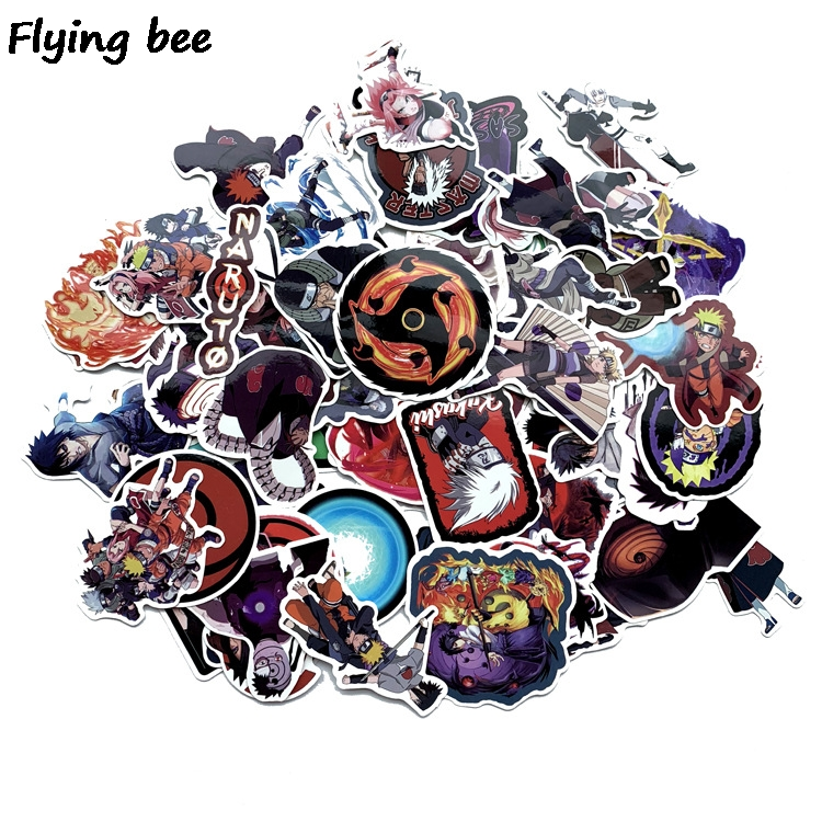 Image 1 - Flyingbee 70 Pcs Naruto Japanese anime Graffiti Stickers for Kids DIY Luggage Laptop Skateboard Car Waterproof Sticker X0214-in Stickers from Consumer Electronics