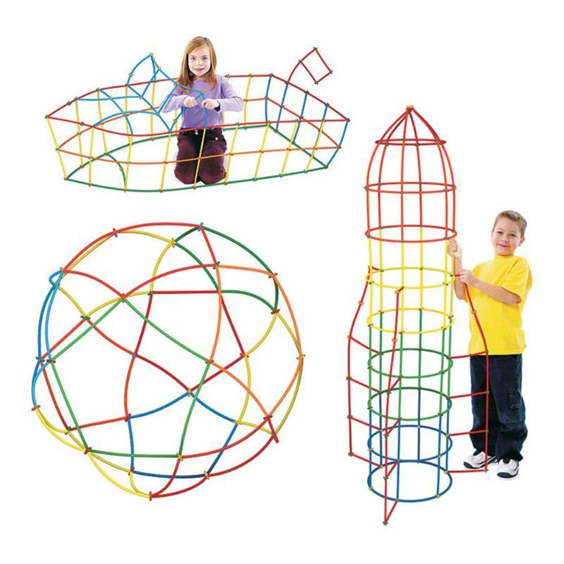 VKTECH 200pcs Childrens Plastic 4D Straw Building Blocks Joints Geometric Shape Blocks Toys Kids Over 3T Brain Development Toys