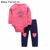 Baby Favorite Girls Boys Clothes Spring Long Sleeve Romper Pants Cotton 2 Pcs Lots Newborn Baby