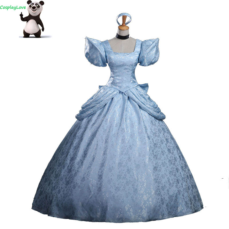 Cosplaylove Cinderella Cosplay Kid Adult Light Blue Cinderella Princess Dress Cusotm Made For Halloween Christmas