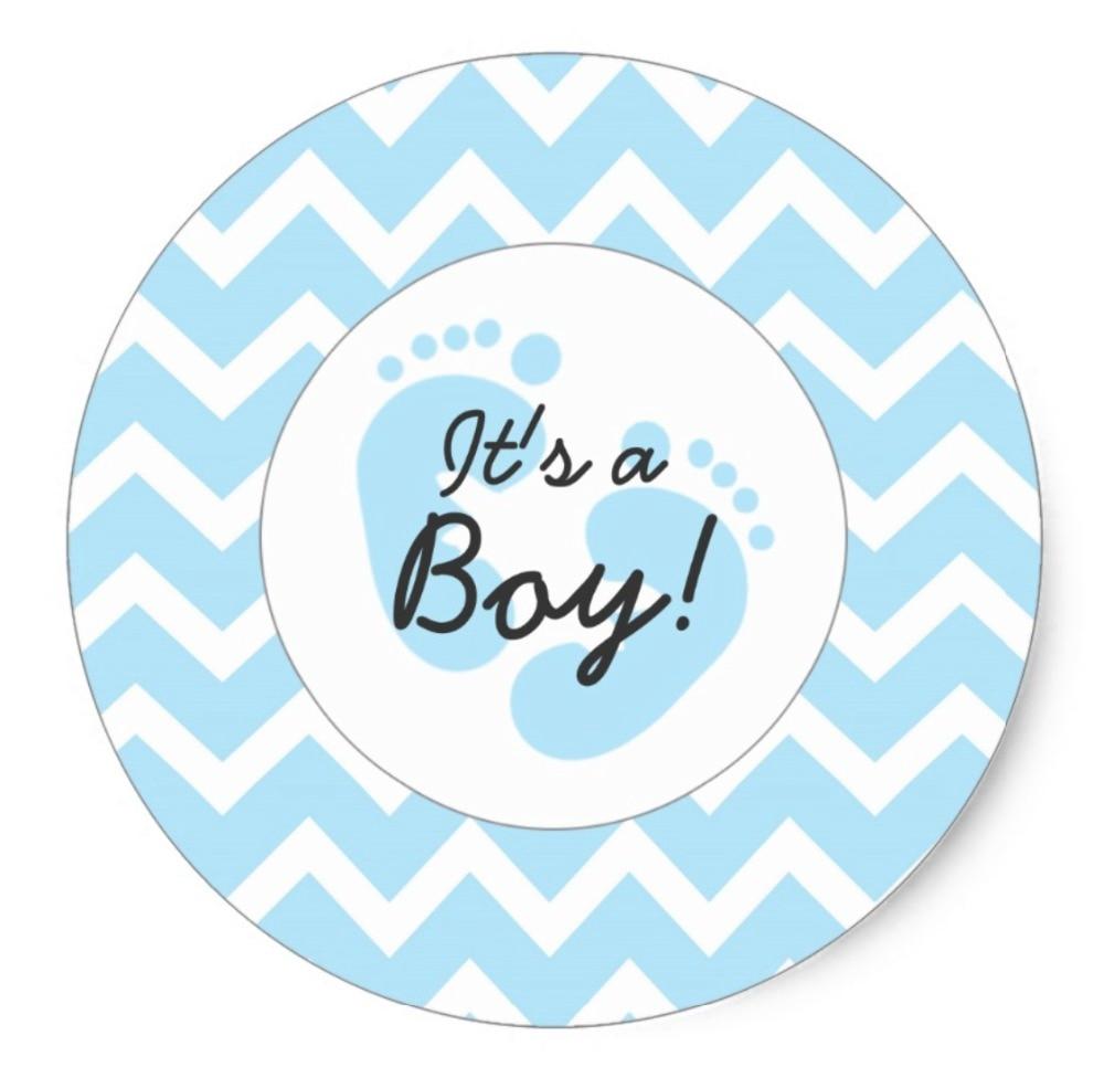 3.8cm blue it's a boy baby shower envelope seals classic round sticker