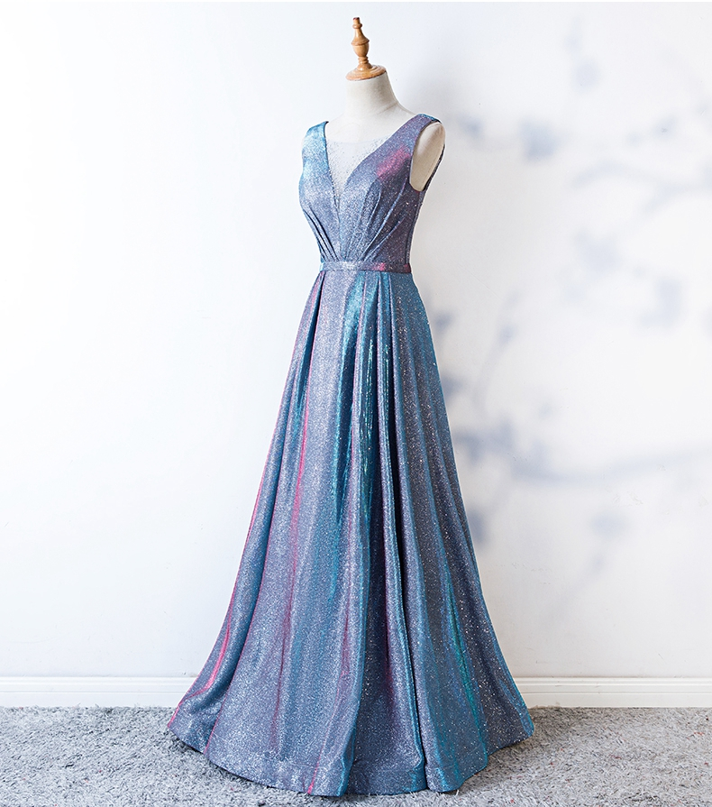 Bling Prom Dress Sheer Neck Light Blue Bridesmaid Dress A-line Long Crystal Evening Gown