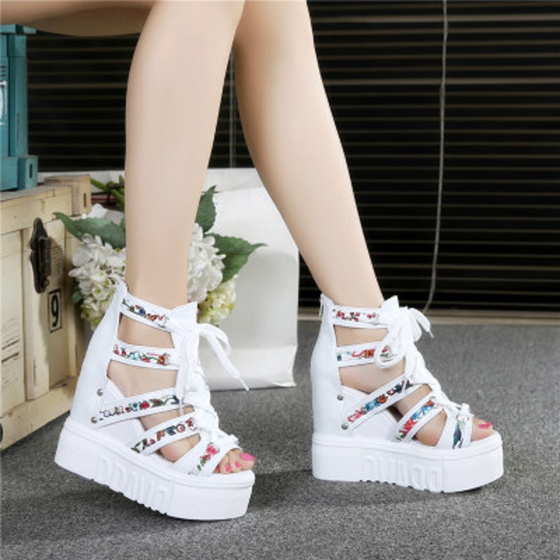Sandals high heel 2018 new bottom thick loose pastel Rome shoes wedge mouth fish hollow increased