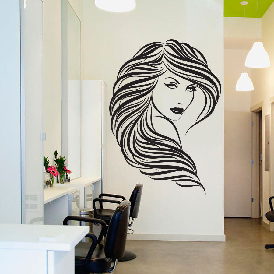 Buy popular beauty hair salon wall decal for New home decor products