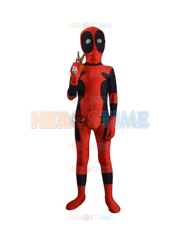 Kids Deadpool costume Spandex red and black child deadpool superhero Costume fullbody zentai suit free shipping