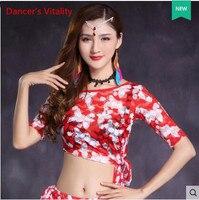 2017 Взрослые Сексуальные шею печать танец живота Футболка костюмы для Для женщин живота Танцы индийский Одежда для танцев Одежда