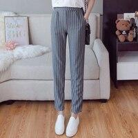 Trousers Women 2018 Spring Summer England Style Vintage Striped Elastic Waist Pencil Pants Black Gray Blue