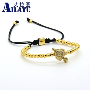 Image 2 - Ailatu CZ Arrow Through Love Heart Bracelet Clear Cz Beads and 4mm Stainless Steel Couple Wedding Jewelry