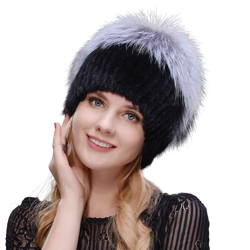 2019 Venta caliente moda invierno cálido de tejer gorras visón sombreros Vertical que teje con piel de zorro en la parte superior