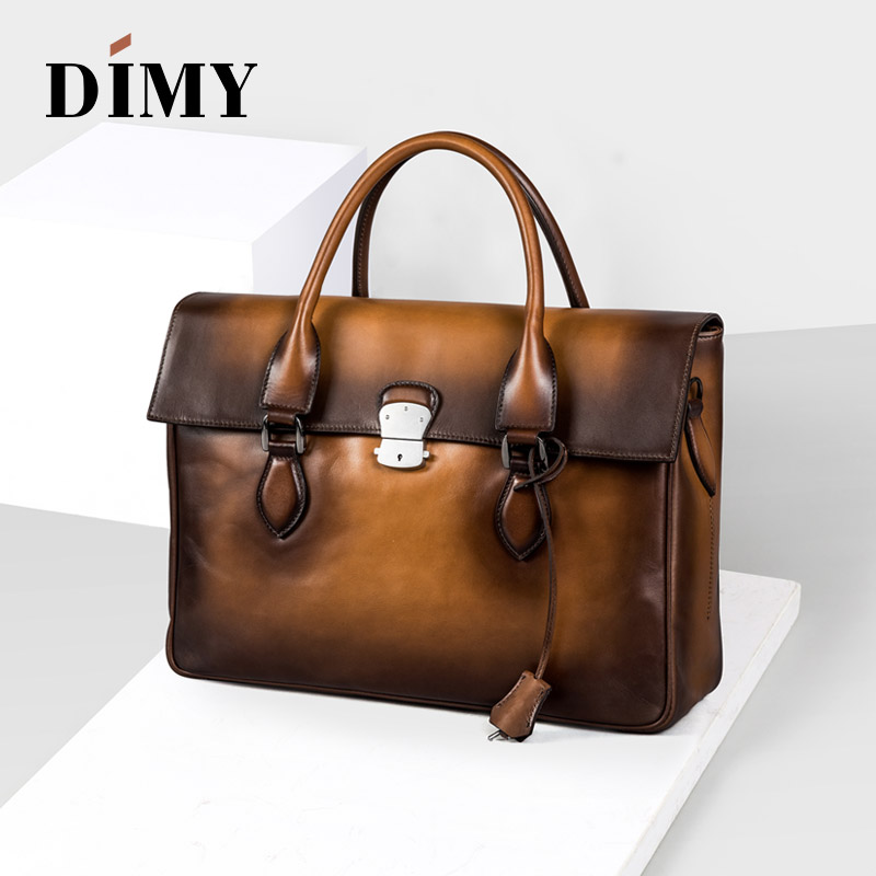 DIMY Italian Trento Calfskin Leather Briefcases Mens Hand Patina Handbag Vintage Shoulder Bags For Laptop Patch-work Bag D-9041