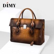 DIMY Italian Trento Calfskin Leather Briefcases Mens Hand Patina Handbag Vintage Shoulder Bags For Laptop Patch-work Bag D-9041
