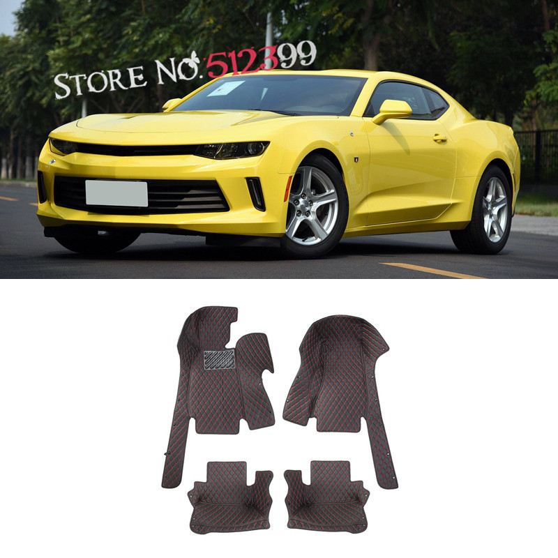 Artificial Leather 1 2016 2017 Set Black Interior Car Pad Floor Mats Carpets For Chevrolet Camaro Sixth Gen