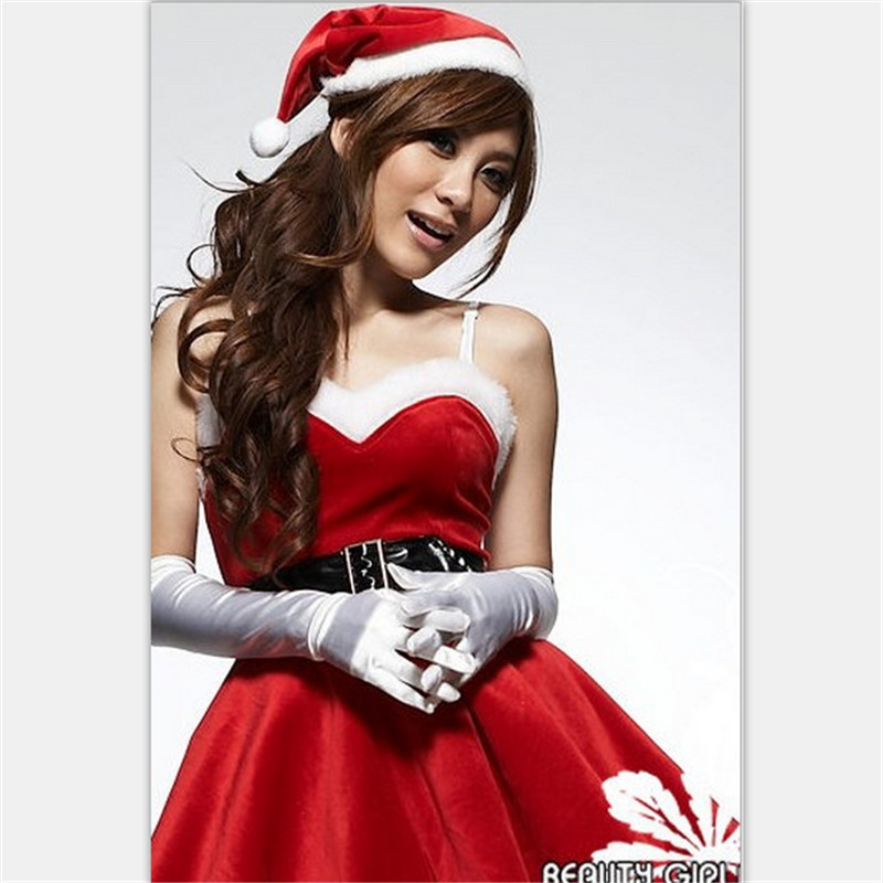 2018 high quality Erotic Top Fashion Winter Christmas Wear Sexy Dress New Design 4pcs Dress+belt+hat+gloves Woman Lingeries