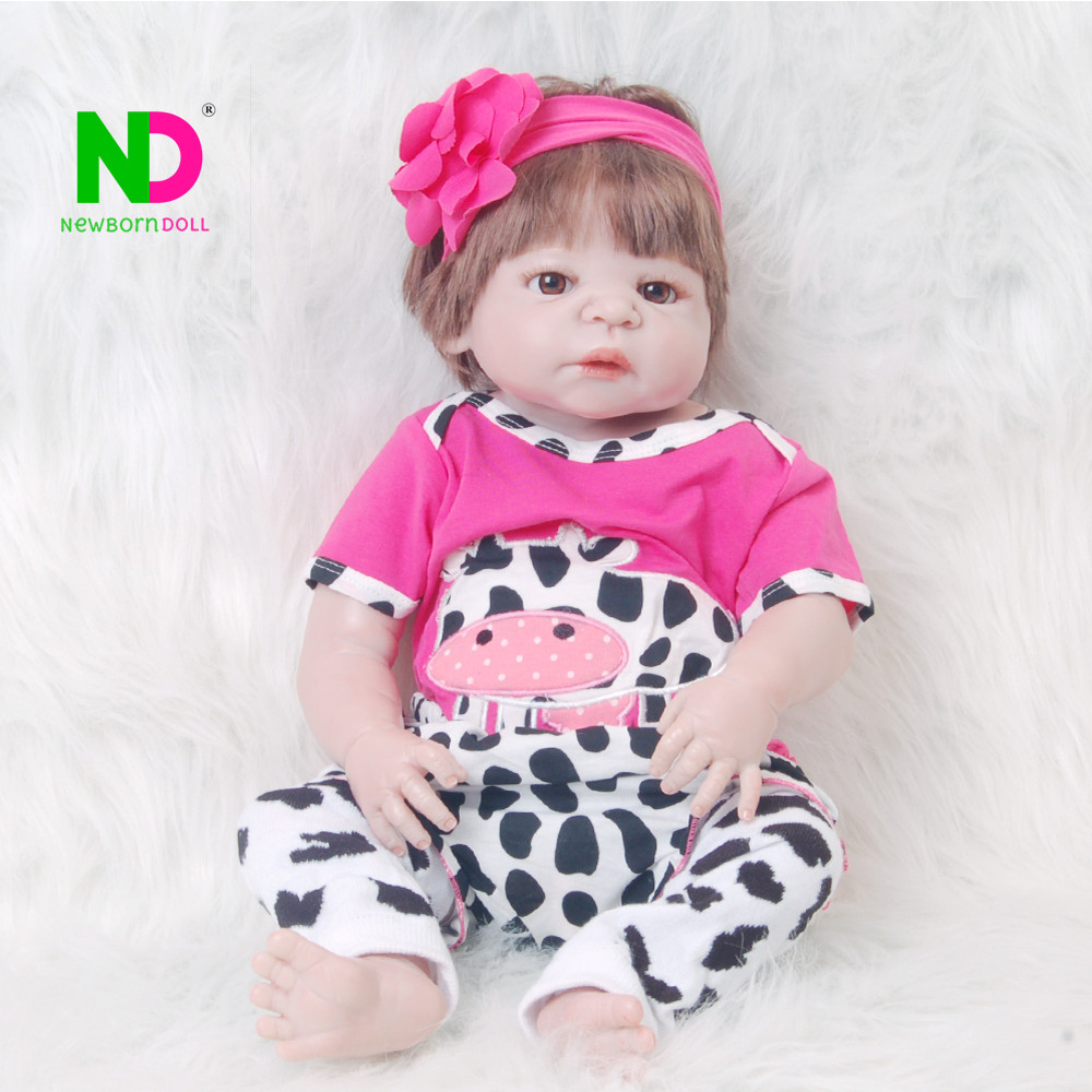 Realistic Doll Reborn Full Body Silicone Babies Vinyl Girl Baby Toy 23'' Fashion Dolls Baby Born Hot 2018 Best Birthday Gifts fashion babies newborn 23 realistic dolls full silicone vinyl lifelike dolls reborn baby toy for girl playmate birthday gifts