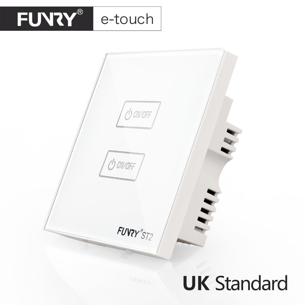 FUNRY UK Standard Wall Switch, Crystal Glass Panel,2 Gang 1 way, Smart Touch Switch,AC 110-250V/1000W -Black/White/Gold 1 way 1 gang crystal glass panel smart touch light wall switch remote controller white black 160 250v ac
