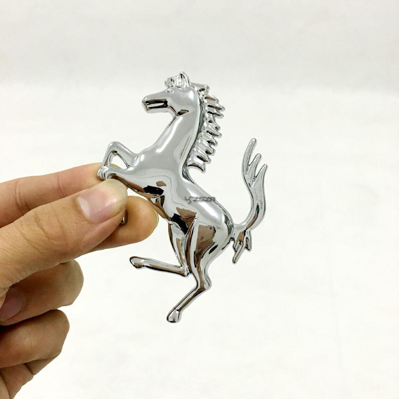 Us 6 99 For Ferrari Metal Chrome Silver Golden Running Horse Rear Trunk Fender Emblem Badge Sticker Z2aad058 In Emblems From Automobiles
