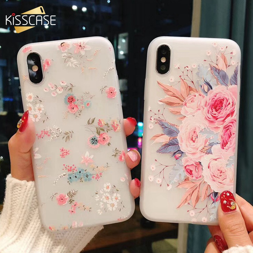 KISSCASE 3D Relief Floral Case For iPhone 6 6s 7 8 Plus X 5S SE Cases Soft TPU Flower Patterned Phone Bags For iPhone X 5S SE 5